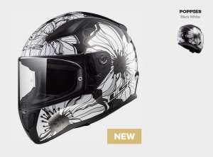 KASK MOTOCYKLOWY KASK LS2 FF353 RAPID POPPIES BLACK WHITE, model 2019 !