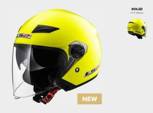 Kask MOTO KASK LS2 OF569.2 TRACK SOLID H-V YELLOW -  BLENDA !