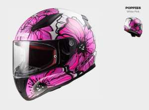 KASK MOTOCYKLOWY KASK LS2 FF353 RAPID POPPIES WHITE PINK