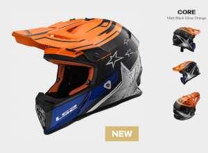 KASK  MOTOCYKLOWY  LS2 MX437 FAST CORE BLACK ORANGE