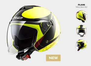 Kask MOTO  LS2 F573 TWISTER SOLID PLANE H-V YELLOW   -  BLENDA !